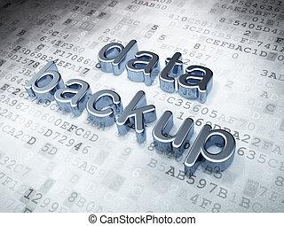 Information concept: Silver Data Backup on digital background