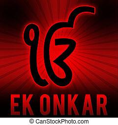 Ek Onkar - Red Black Burst - Ek onkar symbol on a red black...