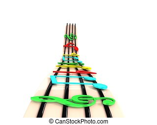 rendered colorful musical notes - isolated three dimensional...