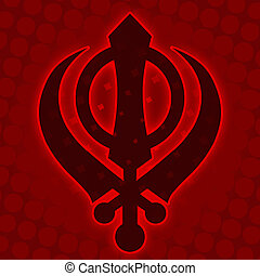 Sikh Symbol - Red Halftone backgrou - Sikh Symbol on a red...