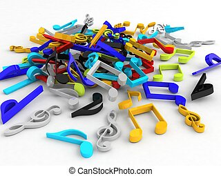 bunch of musical notes - isolated three dimensional bunch of...