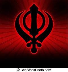 Sikh Symbol - Red Black Burst - Sikh Symbol on a red black...