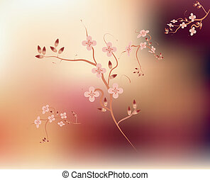Japanese branch blossom pink background - Traditional...