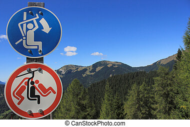 Skilift warning signs, Alps, Slovenia - Skilift warning...