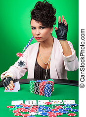 sexy woman calls poker bet - sexy young lady throwing some...