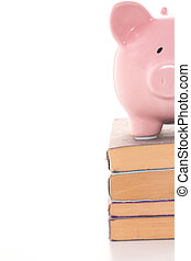 Piggy bank standing on stack of books