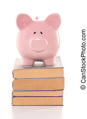 Pink piggy bank standing on stack of books