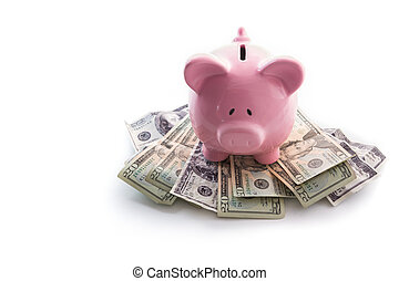 High angle view of piggy bank standing on dollars