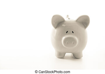 White piggy bank with copy space on white background