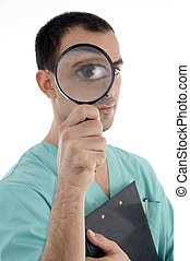 smart surgeon holding magnifier on an isolated white...