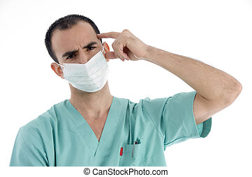 doctor posing with face mask