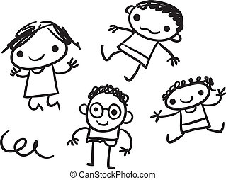 Kids doodle - Stylized black and white vector doodle of...