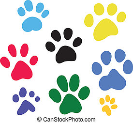 Set of vector colored paw prints - Funny set of colored paw...