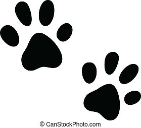 Vector cats paws - Black vector paws print isolated on white...
