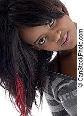 beautiful teen with colored hair against white background