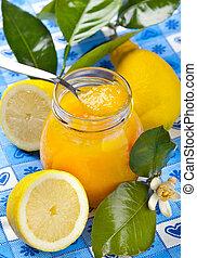 Lemon jam - Homemade lemon jam on the table