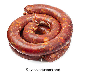 Raw sausage isolated on a white