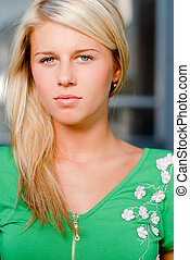 Young beautiful blonde woman portrait - Young beautiful...