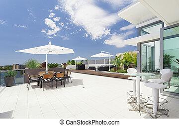 Modern balcony in luxury penthouse