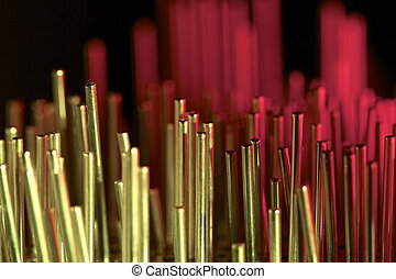 metal rods - a group of metal rods meets colored light