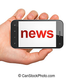 News concept: smartphone with News - News concept: hand...