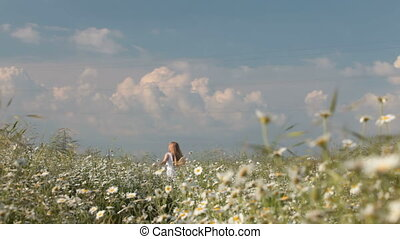 running down the spring meadow - Child running down the...