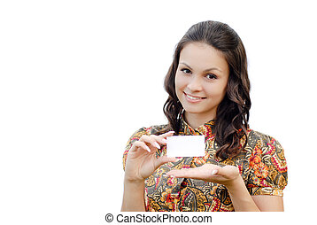 Young happy business woman holding blank card copy space