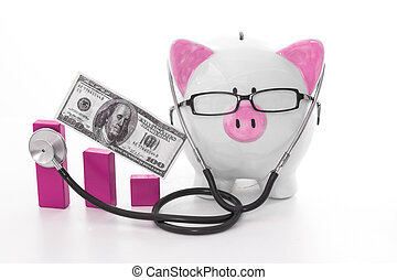 Pink and white piggy bank wearing glasses and stethoscope...