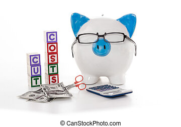 Blue and white piggy bank wearing glasses with cut costs...
