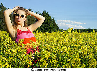 Young beautiful funny woman and yellow fields - Young...