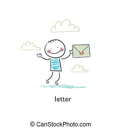 A man and a letter. Illustration.