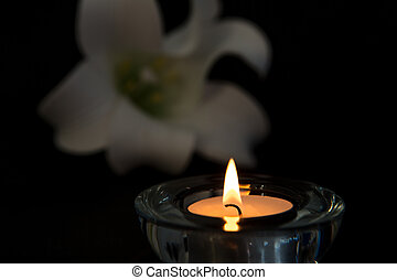 Tea light candle lighting in glass holder with white lily in...