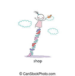 A girl in a shoe shop Illustration