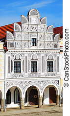 Historic house in Telc with sgraffiti decorations