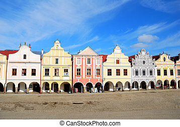 Town square inf Telc with renaissance and baroque colorful...