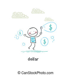 Dollars - bubbles Illustration