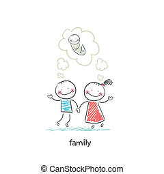 Happy family is waiting for the birth Illustration