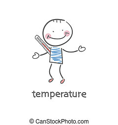 Man measures the body temperature. Illustration.