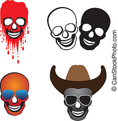 Illustration of skulls with hat, glasses and blood spilling....