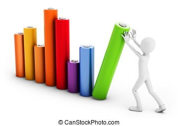 3d man pushing a bar chart on white background
