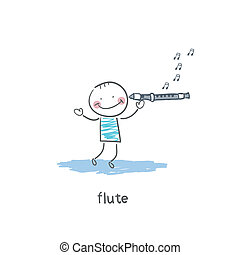 Man plays the flute