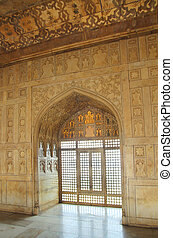 interior of palace in red Fort in Agra India