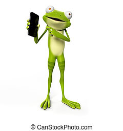 Funny frog - 3d rendered illustration of a funny frog