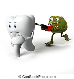 Tooth and bacteria - 3d rendered illustration of a tooth...