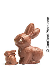 Big and small chocolate bunny rabbits on white background
