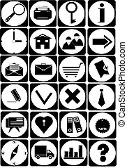 Vector black icons on isolated
