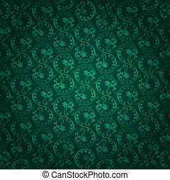 Green vintage floral seamless pattern