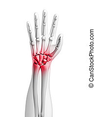 Highlighted - wrist - 3d rendered illustration - painful...