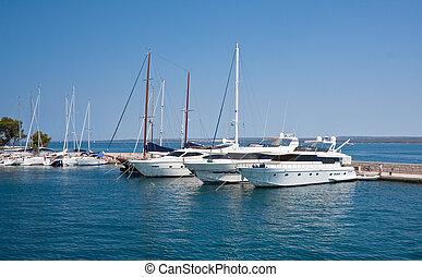 Yacht port. Large island of Brijuni. Croatia