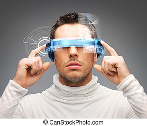 businessman with digital glasses - picture of handsome...